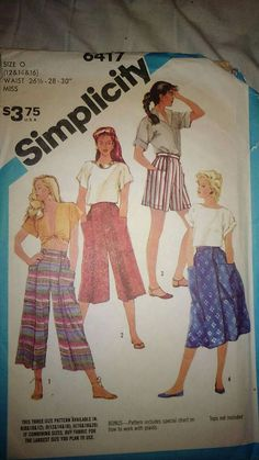 Vintage 80s Sewing Pattern Simplicity 6417 Gaucho Pants Culottes and Skirt