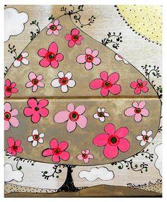 pictura pe lemn-copac cu flori roz