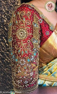 25 Dashing Red Work Blouse designs to try for your wedding - Wedandbeyond Netted Blouse Designs, Blouse Designs Catalogue, Wedding Saree Blouse Designs, Fancy Blouse Designs, Wedding Blouses, Hand Work Blouse Design, Stylish Blouse Design, Maggam Work Designs, Designer Blouse Patterns