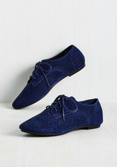 Picture Perforate Flat in Blueberry - Blue, Solid, Cutout, Work, Casual, Summer, Good, Lace Up, Blue, Saturated, Variation, Flat