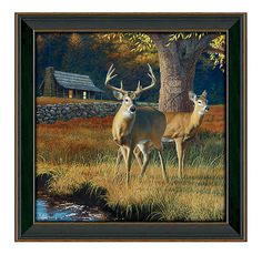 Whitetail Morning Glassless Personalized Artwork by Scott Kennedy | Bass Pro Shops // This romantic and breathtakingly detailed Whitetail Morning Glassless Personalized Artwork by Scott Kennedy features your names personalized on the tree behind the beautiful pair of whitetail deer. #mothersdaygifts #personalizedgifts #rustic #lodge #cabin