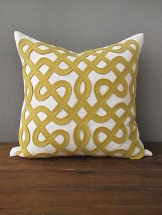 labyrinth citrine pillow | redinfred  hand stitched wool design on linen accent pillow in a beautiful citrus pattern