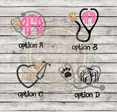 Monogrammed Veterinary Decals by NOLACraftsbyRachel on Etsy