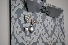 Fabric Magnet Boards w/ vintage button magnets