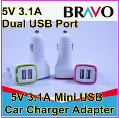 colourful Universal Dual 2 Port USB Car Charger For iPhone iPad iPod 3.1A Mini Car Charger Adapter