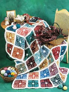"""Use the leftover skeins of yarn from previous projects to crochet an afghan masterpiece. Size: 67"""" x 51""""."""