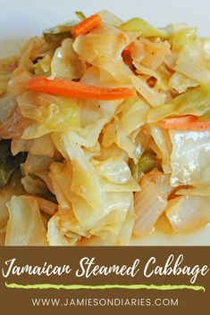 Jamaican Steamed Cabbage Recipe, Jamaican Dishes, Jamaican Recipes, Authentic Jamaican Cabbage Recipe, Carribean Food, Caribbean Recipes, Healthy Caribbean Food, Vegetable Sides, Salads