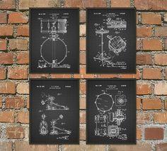 Drum Kit Patent Prints Set of 4 Drummer Musician by QuantumPrints