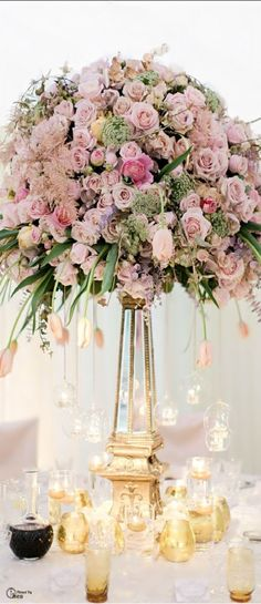 Elevated Centerpiece  of pink flowers