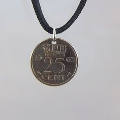 1963 Netherlands Coin Necklace, 25 Cents, Coin Pendant, Mens Necklace, Womens Necklace, Leather Cord, Vintage Coin Jewelry, Coin Necklace, Leather Cord, Black Leather, Coin Pendant, Ball Chain, Coins, My Etsy Shop, Pouch