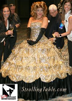 Strolling champagne dress with hoop skirt