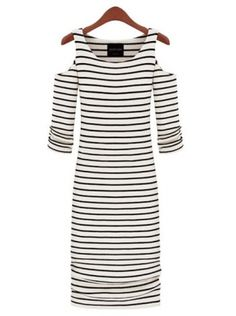 White with black bars seven sleeve length round neck Cotton Blends pencil dress
