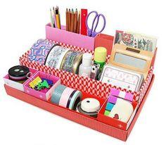 Con este miniorganizador podrás tener ordenado tu escritorio. #DIY #Decoracion #Manualidades #Handmade #Creatividad