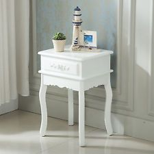 Antique Shabby Chic End Side Sofa Console Table Entry Hall Wood w/Rosebuds White