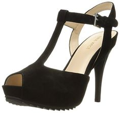 Nine West Women's Radisa Suede Heeled Sandal, Black, 9.5 M US *** Click image to review more details.