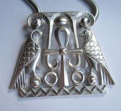 Egyptian Revival Pendant Necklace, by Trifari. c. 1970s. Diane Love?