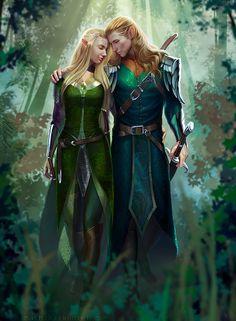 commission: Elf Couple by MathiaArkoniel on @DeviantArt