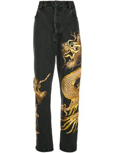 Save money on Dragon Zardozi jeans Painted Jeans, Painted Clothes, Custom Clothes, Diy Clothes, Vetement Hip Hop, Embellished Jeans, Lookbook, Cute Casual Outfits, Aesthetic Clothes