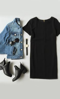 Perfect casual outfit for a rainy day like today - love the jean jacket with a black shift dress. And those booties? Mode Outfits, Fall Outfits, Casual Outfits, Fashion Outfits, Casual Black Dress Outfit, Black Tshirt Dress Outfit, Fashion Clothes, Denim Jacket Outfit Summer, Shift Dress Outfit