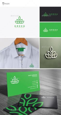 Green Logo by Tenuart Logo Template Features A great and simple logo CMYK Editable and resizable vector files Editable text and color Included AI, PSD a Logo Design Template, Logo Templates, Presentation Logo, Logo Branding, Branding Design, Logo Psd, Branding Ideas, Corporate Design, Logo Vert