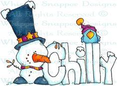 Chilly Snowman - Snowmen Images - Snowmen - Rubber Stamps