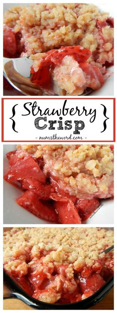 - Homemade Strawberry Crisp is a fresh, easy and fantastic dessert! Use fresh or f… Homemade Strawberry Crisp is a fresh, easy and fantastic dessert! Use fresh or frozen strawberries to create this simple strawberry crisp. Perfect for a beginner baker or Fruit Recipes, Sweet Recipes, Baking Recipes, Recipies, Potato Recipes, Pasta Recipes, Crockpot Recipes, Soup Recipes, Vegetarian Recipes