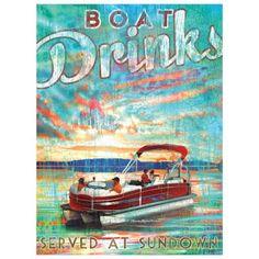 Boat Drinks / Pontoon Boat Artwork, by Patrick Reid O'Brien Retro Chic, Coastal Style, Coastal Decor, Tropical Home Decor, Tropical Interior, Tropical Furniture, Tropical Colors, Haus Am See, Lake Decor