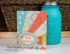 Sunburst Birthday card using CTMH Hopscotch papers and Choose Happy (SOTM) stamp set.  by Vicki Wizniuk