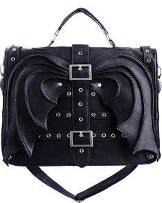 Restyle Gothic Goth Vampire Bat Wing Bag Satchel Briefcase Faux Leather Vegan