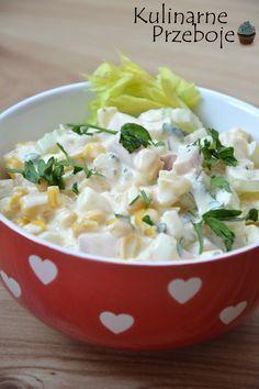 Sałatka brazylijska z jajkami – to sałatka, na którą ostatnio natknęłam się na bloguPrzepisy Joli.Więcej przepisów na sałatkii surówki na blogu znajdziecie pod tagiem:Sałatki i surówki – przepisy Sałatka brazylijska z jajkami – Składniki: 2 łodygi selera naciowego 3 jajka 110g szynki (ulubionej, u mnie 'szynka pyszna') pół puszki kukurydzy (ok. 140g po odsączeniu zalewy) […] Polish Recipes, Polish Food, Salad Recipes, Potato Salad, Grilling, Avocado, Salads, Bbq, Health Fitness