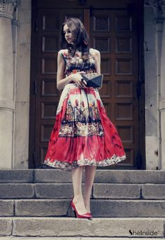 Blue and Red Cap Sleeve Theater Printed Midi Dress