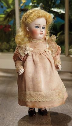 Early German All-Bisque Doll in Rare Grand Size with Original Costume 1200/1600  12""