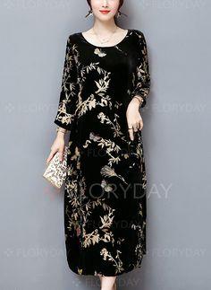 c57b1b63914 Plus Size Elegant Women Gold Velvet Dress Silk Blended Retro Printing  Dresses - Banggood Mobile