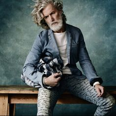 Manna from Denim Aiden Shaw Damian foxe Fashion For Men Over 50, Great Mens Fashion, Men's Fashion, Best Mens Leather Jackets, Aiden Shaw, Beard Model, Men With Grey Hair, Man Set, Most Beautiful Man