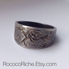 Rustic Rose Ring, Sterling Silver Rose Ring, Sterling Silver Hand Engraved Ring Size 7 on Etsy, $120.00