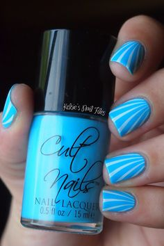 cult nails Nakizzles Shizzle, stamped with white