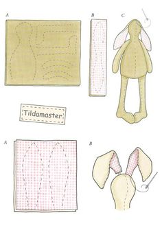 схема шитья зайца тильда Sewing Toys, Sewing Crafts, Sewing Projects, Diy Doll, Doll Crafts, Doll Patterns, Sewing Patterns, Tilda Toy, Fabric Animals