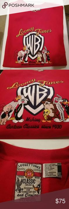 Looney Tunes WB Classic Sweat Shirt Warner Bros Looney Tunes Red sweat shirt. All of your favorite characters ! Embroidered. Collectors Alert ! Warner Bros Looney Tunes Tops Tees - Long Sleeve