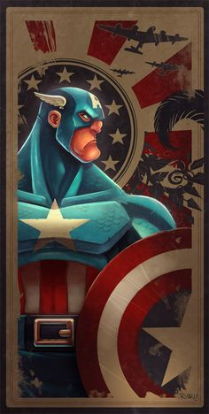 Avengers Card, Captain America by Ryan Hall