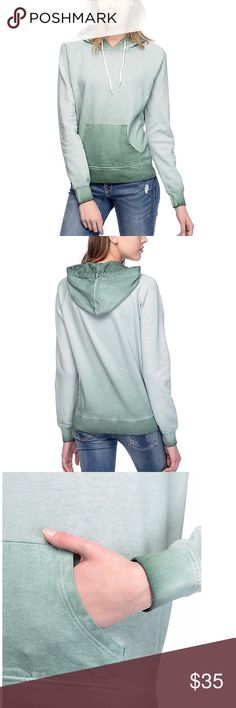 "ZINE green pigment spay dyed hoodie READY TO SHIP SAME OR NEXT BUSINESS DAY   Model is wearing size Small. Model Measurements: Height: 5'10"", Bust: 32B, Waist: 24"", Hips: 34.5"" Relaxed fit. 24.5"" total length from shoulder to bottom hem. Measurements may vary by size.   Product Details: Tera Sage Green pigment spray dyed hoodie from Zine. Adjustable drawstring hood. Front kangaroo pouch pocket. Lightweight construction. French terry lining. Ribbed sleeve cuffs and bottom hem. 100% cotton…"