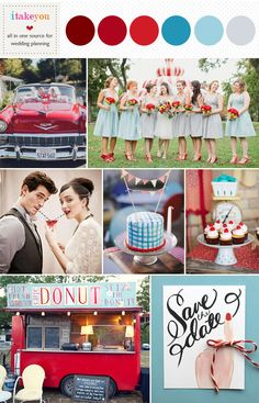 Retro blue & red Wedding I LOVE the save the dates Wedding Color Schemes, Wedding Colors, Retro Wedding Theme, Rockabilly Wedding Decorations, Wedding Vintage, Trendy Wedding, Dream Wedding, Summer Wedding, Wedding Shoes