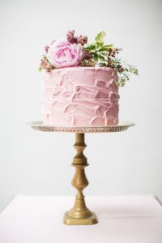 Simple Cake + Fresh Blooms