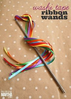 Ribbon Wands with Washi Tape Washi Tape Ribbon Wands - a 5 minute washi tape DIY that will have your kids playing for hours!Washi Tape Ribbon Wands - a 5 minute washi tape DIY that will have your kids playing for hours! Ribbon Wands, Diy Ribbon, Ribbon Crafts, Ribbon Sticks, Ribbon Projects, Ribbon Rose, Diy With Kids, Kids Diy, Olympic Crafts