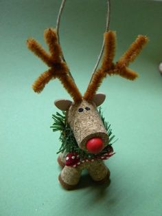 NEW Handmade Wine Cork Reindeer Ornament 4""