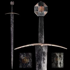 """A German Medieval Sword, 14th century  Encrusted with silver (niello), and decorated with cross symbols of copper wire. The blade inlaid with symbols in gold wire. In front, a cross (Teutonic Order of the Knights of the Holy Sepulchre in Jerusalem); the back with an escutcheon.   Overall length: 102.7 cm (40.43""""); Blade length: 89 cm (35.04"""")  Located at Reichsstadtmuseum Rothenburg, Germany"""
