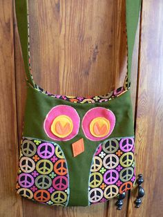 Owl Purse- with peace signs made for my little sister