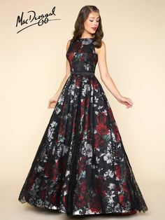 Ball Gowns by Mac Duggal Sleeveless, boat neck, floor length, fit and flare ball gown in a black floral print with lace applique and satin belt. Grad Dresses, Trendy Dresses, Elegant Dresses, Homecoming Dresses, Cute Dresses, Beautiful Dresses, Fashion Dresses, Formal Dresses, Dress Prom