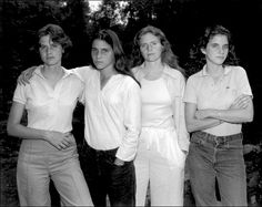 Brown Sisters 1975. Photographer Nicholas Nixon began shooting lovely black and white portraits of the Brown Sisters: his wife Bebe and her sisters, Heather, Mimi and Laurie, in 1975. They decided to make it an annual tradition and were photographed together for 36 straight years (until 2010). They always pose in the same order: Heather, Mimi, Bebe, and Laurie.