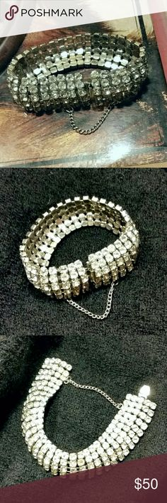 """Vintage 50s Rhinestone Bracelet Vintage 50s Rhinestone Bracelet w Safety Chain Retro Blingy Midcentury Jewelry 50s Costume Jewelry Wrist Bling. Exquisite costume bracelet in perfect condition.  No missing stones.  Clasp holds well. There is no hallmark. Measures 7.5"""" around and 1"""" wide. Vintage  Jewelry Bracelets"""