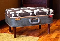 DIY Ottoman - turn a suitcase into a cute and functional ottoman!
